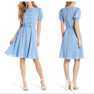 GAL MEETS GLAM Ellie Dress Blue Crepe Puff Sleeve